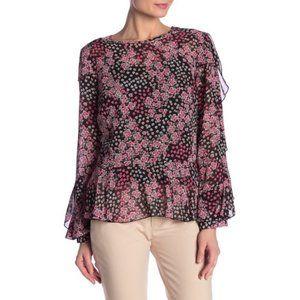 Nanette Lepore Chiffon Floral Print Ruffle Top NWT